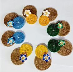 Textile Jewelry, Fabric Jewelry, Beaded Jewelry, Handmade Jewelry, Craft Jewellery, Jewelry Crafts, Jute Crafts, Pita, Funky Jewelry