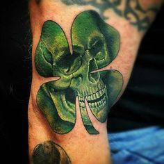 Skull clover tattoo
