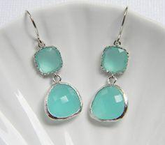 Aqua Earrings - Mint Bridesmaid Earrings Bridesmaid Jewelry - Silver Bohemian Earrings - Everyday Earrings - Gift Under 30