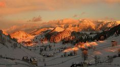 A beautiful sunset near a ski resort in Romania, Poiana Brasov Winter Family Vacations, Ski Vacation, Beautiful Sunset, Beautiful Places, Romania People, Visit Romania, Best Ski Resorts, Mountain Sunset, Places To See