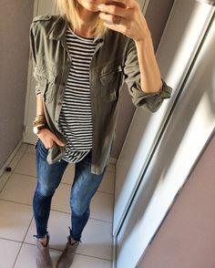 Layer an olive green utility shirt over a striped tee. Finish off the look with ankle booties and skinny jeans | Fall outfit inspiration | Fashion
