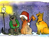 Watercolor Painting Illustration Print 'Caterwauling Christmas Cats'