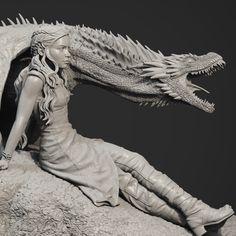 Daenerys Targaryen / Drogon - Game of Thrones statue , edward mosqueda on ArtStation at https://www.artstation.com/artwork/mWKQ1