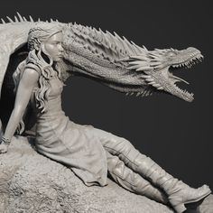 Daenerys Targaryen / Drogon - Game of Thrones statue , edward mosqueda on ArtStation at https://www.artstation.com/artwork/mWKQ1