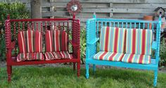 Two identical garden benches made from one Jenny Lind crib...