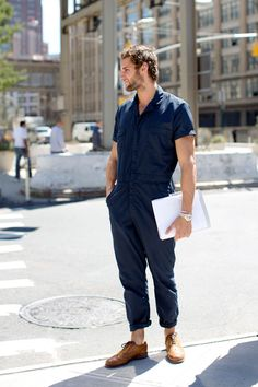 navy blue boiler suit.