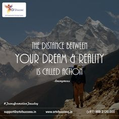 """There are no shortcuts in life, some #dreams are easily #achieved while some take years, but all the dreams require one thing in common to #convertintoreality, and that is """"action"""". AK Mishra's Art of Success training sessions encourage participants to not only dream but have the courage to make adequate actions to turn dreams into reality. #SuccessGuruAKMishra   #ArtOfSuccess   #MotivationalSpeaker   #tuesdaythoughts   #dreamscometrue   #dreamsoflife"""
