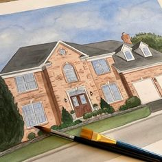 Hand painted watercolor house portraits perfect Christmas gifts. Watercolor Artwork, Watercolor Portraits, First Home Gifts, House Gifts, House Drawing, Hand Sketch, Custom Paint, That Way, Custom Homes