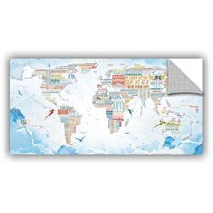 ArtAppealz Mikael B World Of Life: In Heaven Removable Wall Art, Size: 12 x 24, Blue