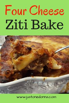 Ziti bake is a perfect casserole to prepare for potlucks and family gatherings. Wow friends and family with this four cheese ziti bake. #zitibake #casseroles #pastabake