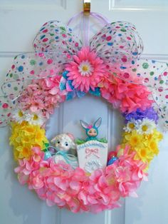 Easter Wreath....Super Cute Vintage Lamb and by KittyKatDance, $165.00