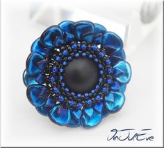 Rings, Ring Chala Midnight blue is a creation of orginale Vinjuleve on DaWanda dragon scales & pips or petals