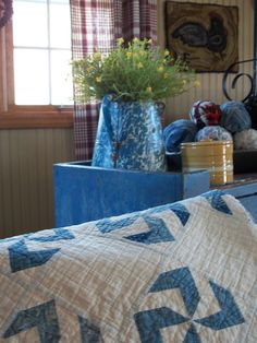 Gorgeous blues!!! Love the hooked chicken rug!