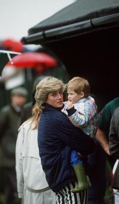Princess  Diana and Prince Harry in frog boots