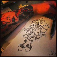 Cuicui et bonne nuit - @kimanh_n- #webstagram swallow bird acorn tattoo tattoos tatts ink inked