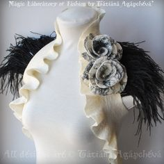 Bridal Ivory Vest, Bolero, Merino Wool, Two Roses corsage, Black Ostrich Feathers Shoulders LA LUNA 2012 Collection Tatiana Agapcheva on Etsy Coque Feathers, Ostrich Feathers, Two Roses, Fashion Sewing, Braid Styles, Corsage, Merino Wool, Women Wear, Ivory