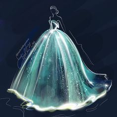 Claire Danes in an illuminated Zac Posen: Sketched with Procreate