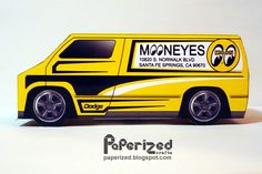 Mooneyes 1977 Custom Dodge Van Papercraft, I actually saw this from a 1:64 scale die-cast toy and I thought it would be cool to make this in papercraft, I like how big the sunroof is, or should I say Moonroof :)  This papercraft is very easy to assemble and only needs one sheet of paper. Papercraft designed and created by Paperized Crafts.