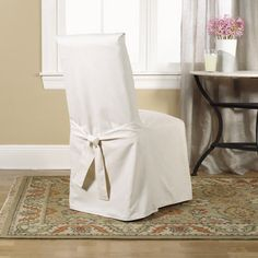 Cotton Duck Natural Dining Chair Slipcover by Surefit - for the dining table $19