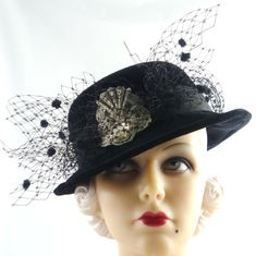 Art Deco 1930s Black Velvet Riding Hat with Chenille by HatArtists, $500.00