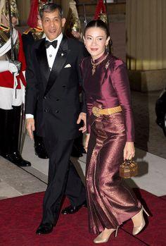 Crown Prince Maha of Thailand and his wife Princess Srirasmi  at Buckingham Palace in 2012
