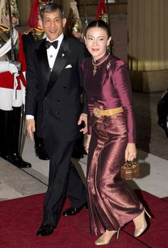Crown Prince Maha of Thailand and his wife Princess Srirasmi  at Buckingham Palace in 2012