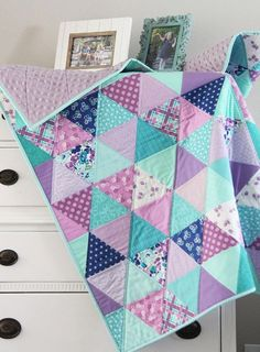 Lavender Blue Baby Quilt Quilting For Beginners Made Easy Quilting for beginners may be a a laugh ho Quilt Baby, Baby Quilt Patterns, Baby Girl Quilts, Girls Quilts, Baby Blanket Crochet, Baby Quilt For Girls, Crochet Baby, Quilted Baby Blanket, Kid Quilts
