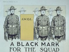 A Black Mark for the Squad. A.W.O.L. - 512701. On VintPrint.com. #WWI #poster