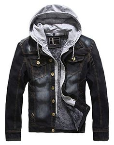 Chouyatou Men's Fleece Lined Distressed Jean Jacket with Removable Hood (Large, Black) - Brought to you by Avarsha.com