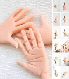 How to model a hand in fondant and gum paste Polymer Clay Miniatures, Fimo Clay, Polymer Clay Projects, Clay Crafts, Cake Decorating Techniques, Cake Decorating Tutorials, Wafer Paper Flowers, Fondant Animals, Free To Use Images