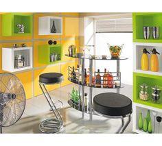BAR in Schwarz, Chromfarben Bar Cart, Shelving, Furniture, Home Decor, Bar Ideas, Homemade Home Decor, Shelves, Bar Carts, Shelf
