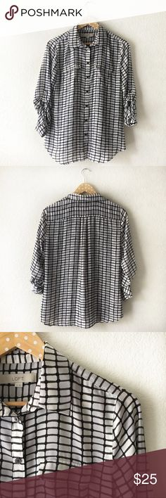 "LOFT Silk Blouse Excellent condition! Bust - 37"" ; Length - 26"" ; Arm length measured from shoulder - 24""  Size Small 100% Polyester LOFT Tops Blouses"