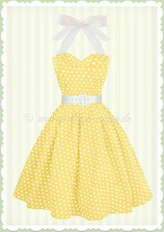 Dolly & Dotty 50er Jahre Rockabilly Punkte Kleid - Sophie - Gelb Weiß