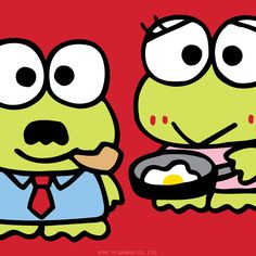 Keroppi‬'s mom and dad, Keroma and Keroppa, wanted to wish you a wonderful day!