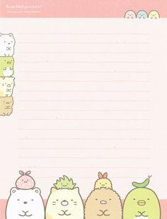 """San-X Sumikko Gurashi """"Portrait"""" Letter Set Printable Stickers, Printable Paper, Cute Stickers, Note Doodles, Bullet Journal 101, Pen Pal Letters, Note Memo, Journal Stickers, Letter Set"""