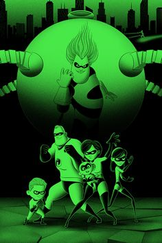 Cool Art: Hero Complex Gallery presents 'Young Guns Of Print'. Art by Bruce Yan Cool Cartoons, Disney Cartoons, Disney Movies, Disney Pixar, Best Family Movies Ever, The Incredibles 2004, Disney Incredibles, Green Characters, My Escape