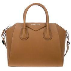 GIVENCHY 'Antigona' small bag ($1,778) ❤ liked on Polyvore featuring bags, handbags, tote bags, purses, givenchy, bolsas, sac, brown tote, zip top tote bag en shoulder strap purses