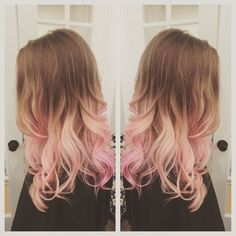 Image result for gradient hair brown blonde pink