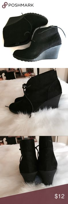 ✨Black Wedged Booties✨ These super cute wedges boots with laces are the perfect addition to your favorite going out jeans! They look great dressed up or down and are very comfortable and stable for those like myself who sometimes struggle with real heels! Shoes Ankle Boots & Booties