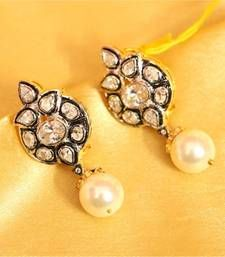 Buy Victorian Pearl Real Diamond Look Earrings danglers-drop online