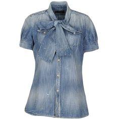Dsquared2 Denim Shirt ($320) ❤ liked on Polyvore featuring tops, blue, dsquared2, blue short sleeve shirt, short sleeve denim top, short-sleeve shirt and short sleeve denim shirt