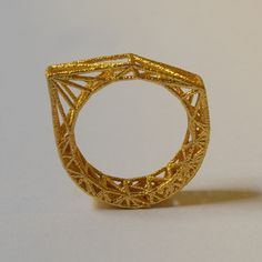 architectural.  Gold 3D Printed Structural Ring