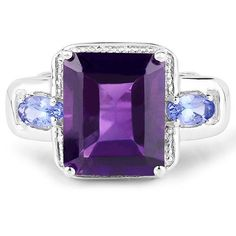 A Natural 4.65CT Emerald Cut Purple Amethyst Halo Oval Cut Tanzanite Ring