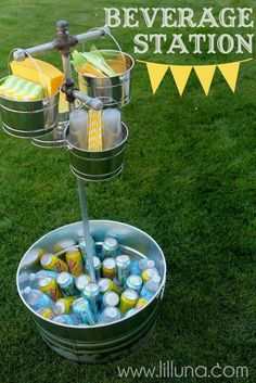 This is a great way to use common plumbing items to create a fun way to deliver sodas and more at a backyard BBQ.