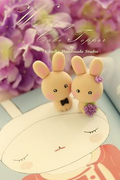 rabbit and bunny Wedding Cake Topper