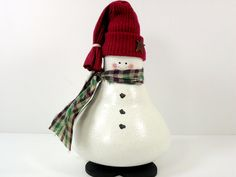 Snowman Light Bulb Hand Painted Christmas Winter Decor