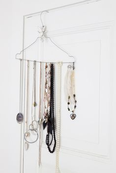 Reuse dry cleaning hangers for jewelry organizing (not hanging up clothes)