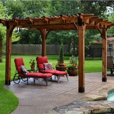 This image features a poolside pergola made with Post Base Kit, Post to Beam Bolt Brackets, and Joist Hangers from OZCO Ornamental Wood Ties