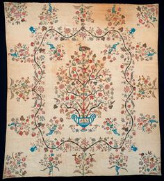 Quilt (Applique medallion quilt) Category: Textiles (Furnishing) Place of Origin: England or United States, United...