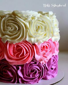 Roses cake, pretty colors.